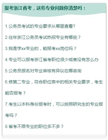 报考2020年浙江省考 你想知道专业问题都在这里!