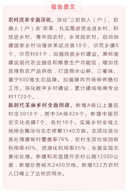 2020年浙江政府工作报告解读6:着力实施乡村振兴战略